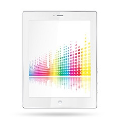 tablet pc with equalizer colorful lines vector image