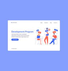 team development program project landing web page vector image