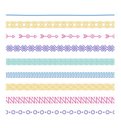 Tribal brushes border ethnic hand drawn vector
