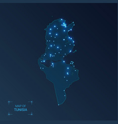 Tunisia map with cities luminous dots - neon vector