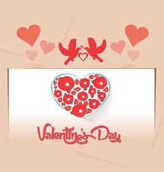 Valentines card with heart flower vector