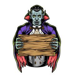Vampire holding blank wooden plank vector