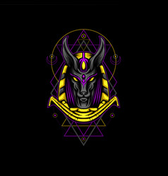 Violet gold anubis geometry style vector