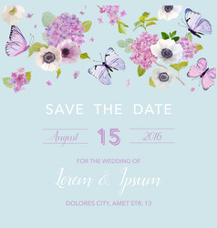 Wedding invitation template botanical card vector