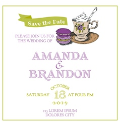 Wedding vintage invitation card - macaroon and tea vector