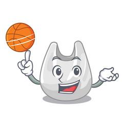 with basketball plastic bag character cartoon vector image