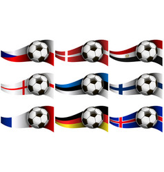 with soccer ball and flag of czech republic vector image