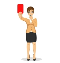 Young businesswoman referee showing red card vector