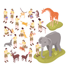zoo workers isometric set vector image