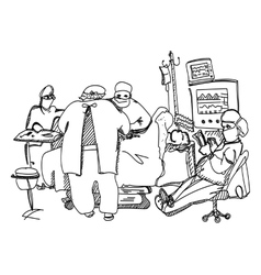 Anesthesiologist resting during operation vector image