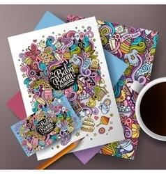 Cartoon doodles Baby corporate identity set vector image vector image