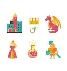 Collection of fairy tale elements icons vector image vector image