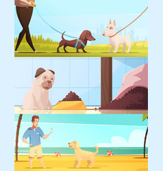 dog banners set vector image vector image