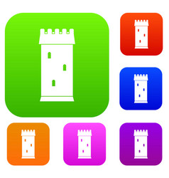 fortress tower set color collection vector image vector image