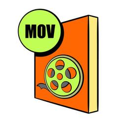 mov file icon cartoon vector image vector image