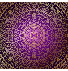 oriental purple background with gold ornament vector image