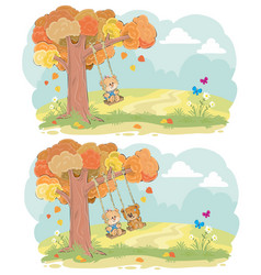 teddy bear on swing autumn concept vector image vector image