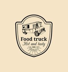 vintage food truck logo emblem retro hand vector image
