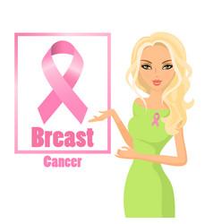 beautiful woman wearing pink ribbons to raise vector image