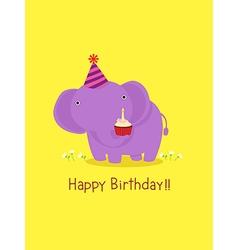Happy birthday card with cute elephant vector image