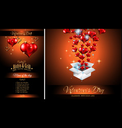 valentines day restaurant menu template background vector image vector image