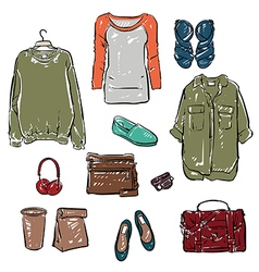Woman clothing and Accessories vector image vector image