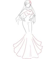 Beautiful bride sketch vector image vector image
