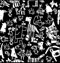 children doodles draw chalk black and white vector image
