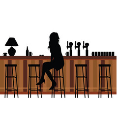 girl silhouette in bar vector image