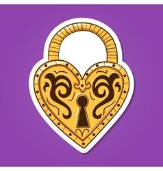 Heart lock Vintage heart shaped object vector image