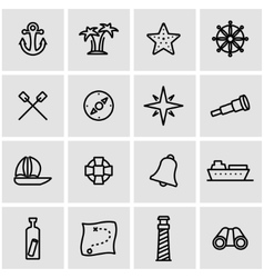 line nautical icon set vector image