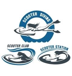 Scooter Diving Club emblem set vector image vector image
