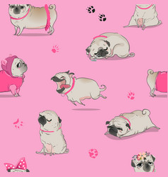 seamless pattern with cute cartoon pug vector image