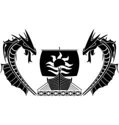 ship and dragons vector image vector image