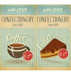 Vintage two Cards Cafe confectionery dessert Menu vector image vector image
