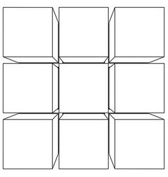 wireframe mesh outline cube vector image