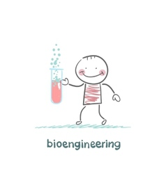 bioengineer holding a test tube vector image vector image