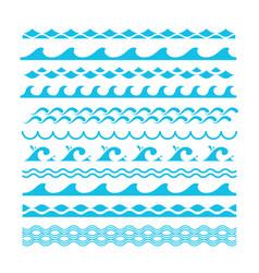 decorative blue sea waves water marine vector image vector image