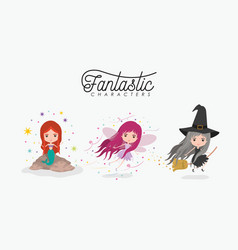 girly fantastic character set of mermaid fairy and vector image