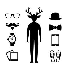 Hipster Icons Set with Deer Man Silhouette vector image