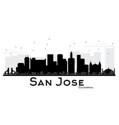 san jose california city skyline black and white vector image vector image