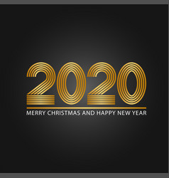 2020 golden number logo monogram parallel line vector image