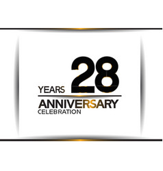 28 years anniversary black color simple design vector