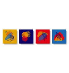 a set fashionable colorful abstract maps with vector image