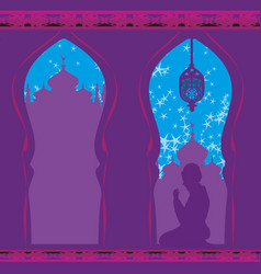 Abstract religious card - muslim man praying vector