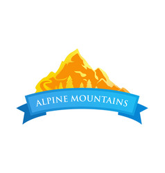 alpine mountains emblem vector image