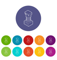 Ancient ionic pillar icons set color vector