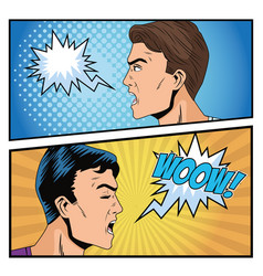 Angry men profiles pop art style characters vector