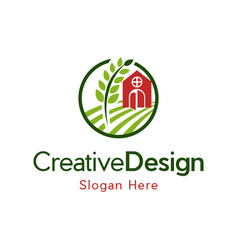 Barn farmhouse landscaping logo design vector