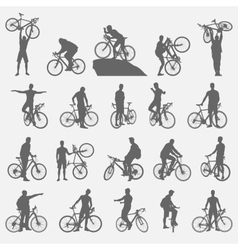 Bicyclists silhouettes set vector